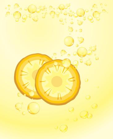 carbonated beverage: Pineapple slices. Carbonated drink