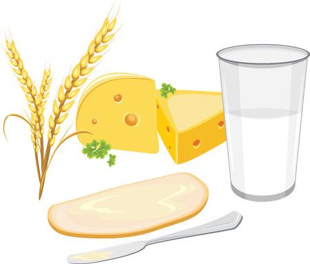 produits céréaliers: Un verre de lait et une tranche de pain blanc avec du beurre et du fromage pour le petit déjeuner Illustration
