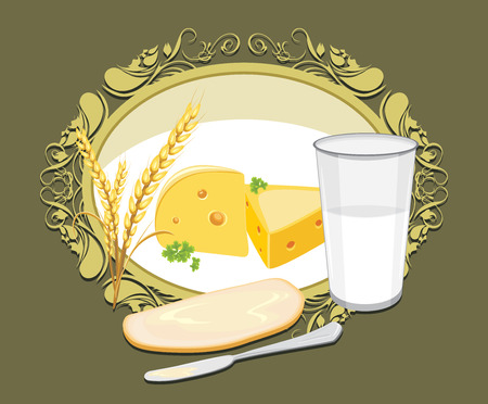 cheese bread: Glass of milk and a slice of white bread with butter and cheese for breakfast. Label