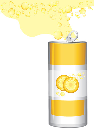 fresh juice: Carbonated pineapple drink Illustration