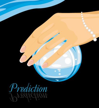예측: Crystal ball in a female hand. Prediction