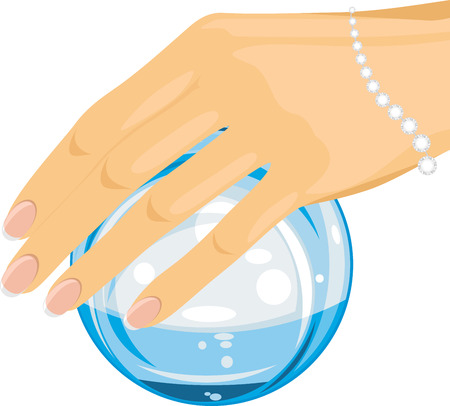 conjure: Crystal ball in a female hand Illustration