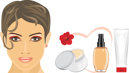 perfect female body: Cosmetic liquid foundation and cream for removing makeup