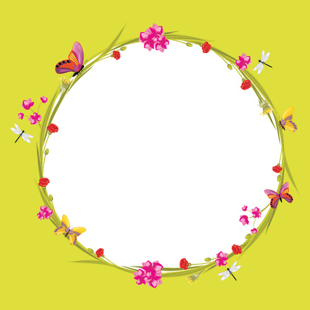 Floral wreath with butterflies and dragonflies isolated on a green background Illustration