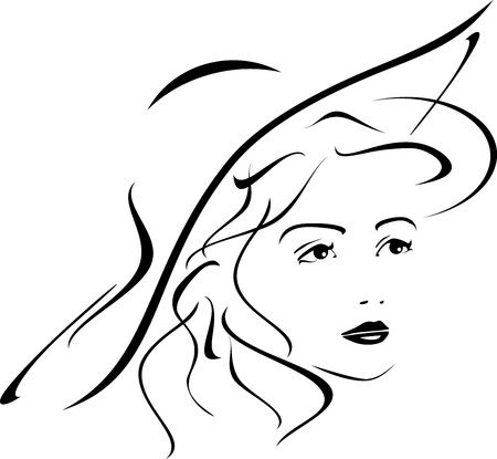 perfect face: Portrait of lady in hat. Icon for design Illustration