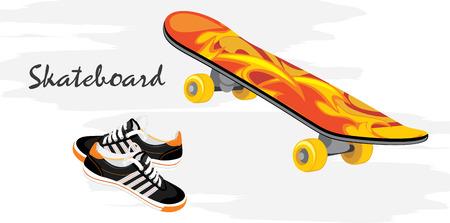 vector illustration: Skateboard and gumshoes