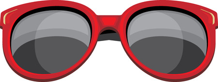 sunglasses isolated: Trendy red sunglasses isolated on the white