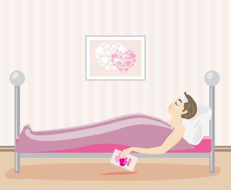 prophylaxe: Kranke Frau im Bett liegend mit einem Buch in der Hand