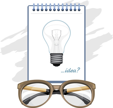 rimless: Glasses and paper sheet with light bulb. Concept