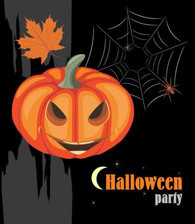 frightful: Halloween pumpkin and spiders. Halloween party