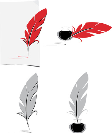 paper old: Feather and inkwell. Elements for the literary design
