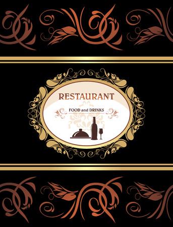 title page: Men� del restaurante. Comida y bebida. P�gina del t�tulo para el dise�o