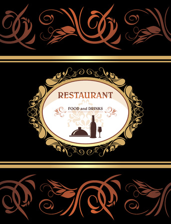 title page: Restaurant menu. Food and drinks. Title page for design