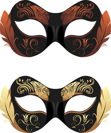 masquerade masks: Masquerade masks isolated on the white Illustration