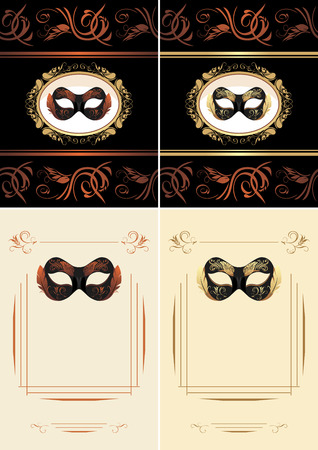 title: Masquerade masks. Title page for design Illustration