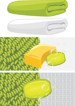 toallas: Verde de baño y una toalla blanca. Diseño de baño Vectores