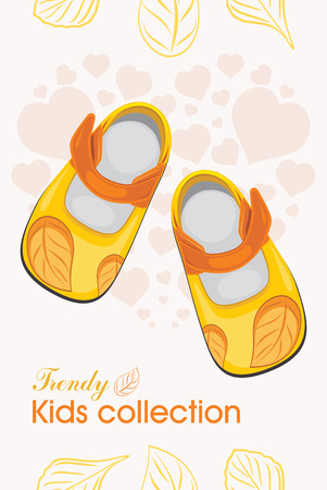 baby shoes: Kids shoes. Trendy collection. Label for design