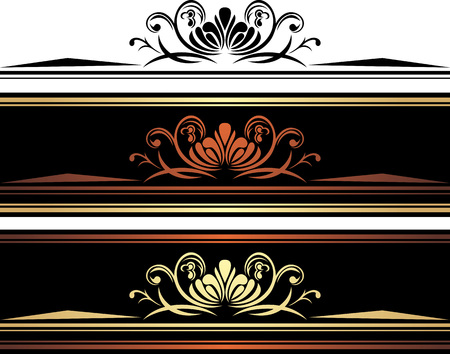 brown: Three brown borders with ornamental golden elements Illustration