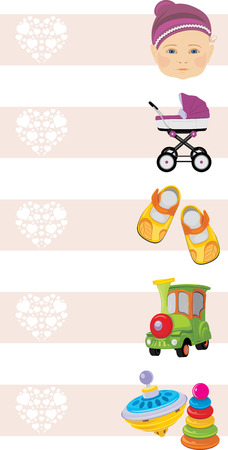 baby playing toy: Kids shopping center. Banners for design Illustration