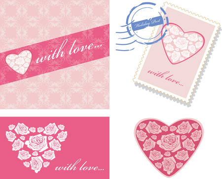 postage stamp: Decorative elements with pink hearts for event design Illustration