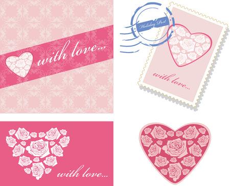 timbre postal: Elementos decorativos con corazones de color rosa para el diseño de eventos Vectores