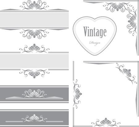 Decorative borders and frames for vintage design Çizim
