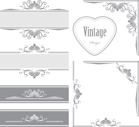 Decorative borders and frames for vintage design Illustration