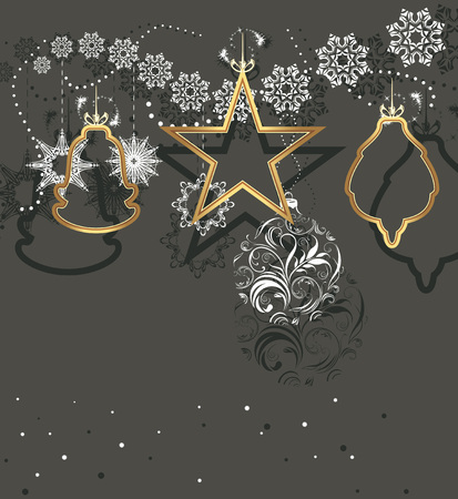 christmas gift: Christmas toys and tinsel isolated on a dark gray background
