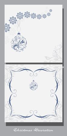 blue ball: Decorative Christmas elements for vintage design