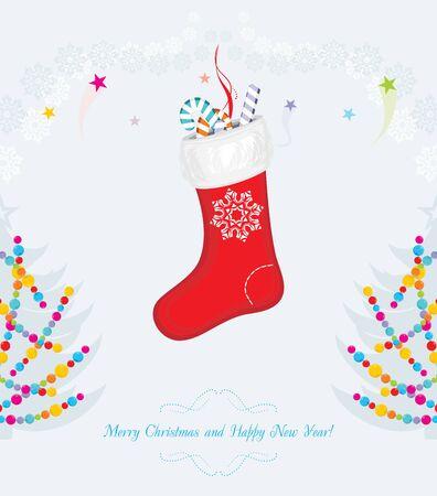 christmas sock: Bright vintage Christmas postcard Illustration