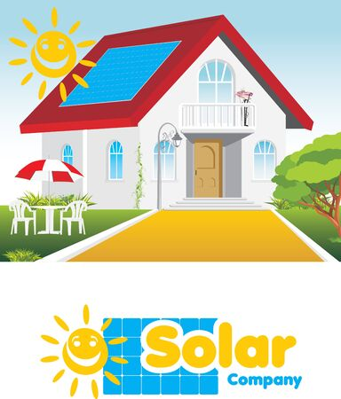 solar panel roof: Solar company. Concept and logo