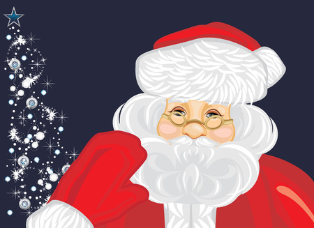 old man portrait: Santa Claus and Christmas tree