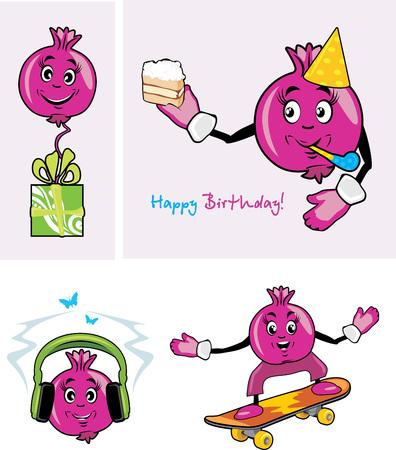 fruit cartoon: Pomegranate. Funny character