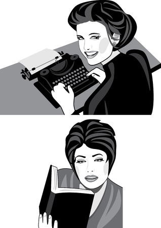 woman smiling: Woman works on a typewriter and reads a book Illustration