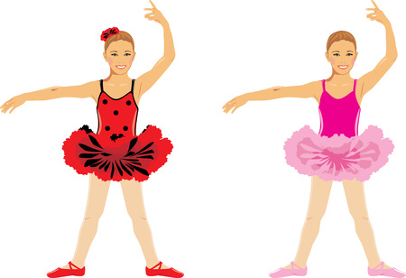 girl in red dress: Dancing girl. Children ballet