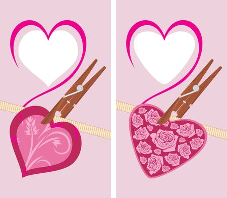 clothespin and rope: Heart on the clothespin