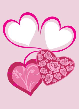 amorousness: Bright pink hearts to the Valentines day. Greeting card