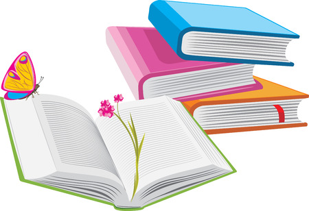 butterfly stationary: Stack of books