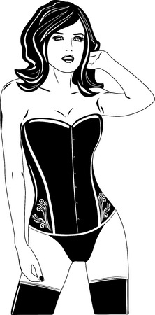 vintage woman: Woman in a corset. Black and white Illustration