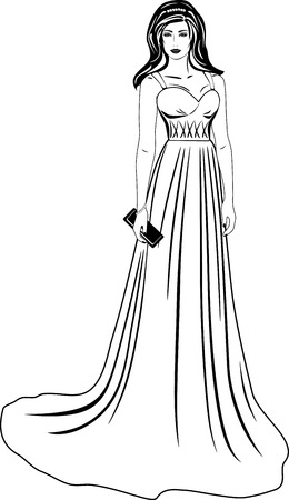 black woman: Beautiful woman in a long dress. Black and white Illustration