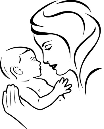 baby and mother: Baby and mother. Black and white Illustration