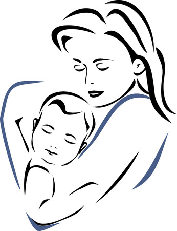 baby and mother: Baby and mother. Outline drawing