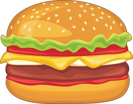 deliciously: Hamburger isolated on the white Illustration