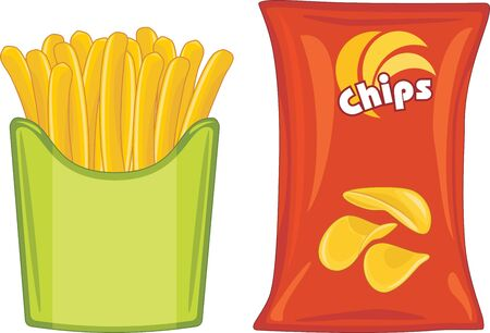 Potato chips and french fries Illustration