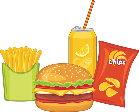 illustrate: Fast food. Hamburger, orange drink, potato chips and french fries