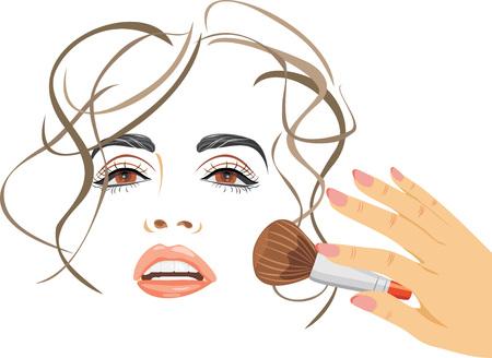 applying: Makeup. Applying blush with a brush