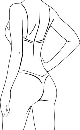 black woman lingerie: Beautiful woman in lingerie. Black and white outline