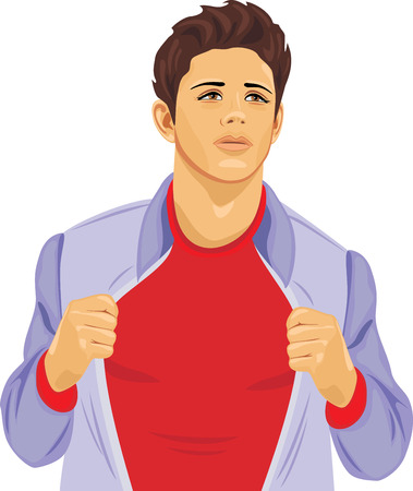 unbuttoned: Young stylish man in an unbuttoned jacket Illustration