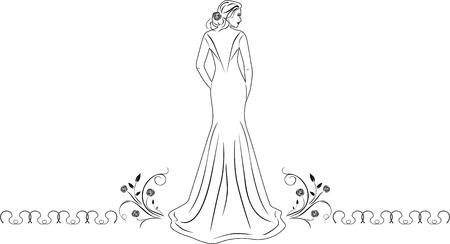 elegant woman: Beautiful woman in a long dress. Icon for fashion design