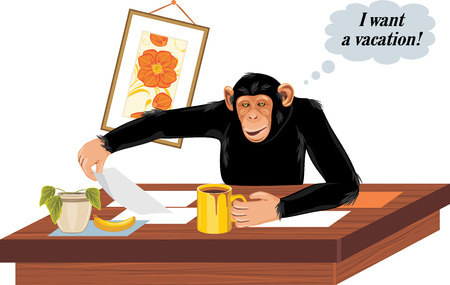 drinking tea: Chimpanzee sitting at office table